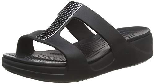 Crocs Damen Monterey Metallic Wedge Sandalen, Schwarz (Dark Charcoal/Black 0gq), 37/38 EU