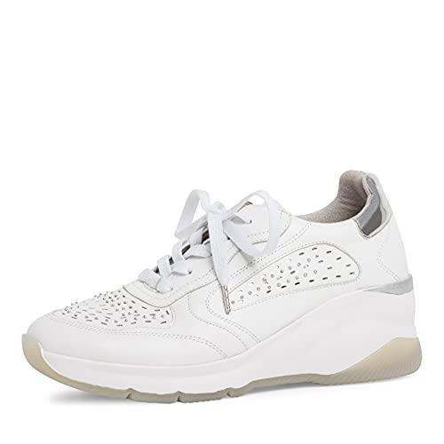 Tamaris Damen Sneaker, Frauen Low-Top Sneaker,Halbschuhe,straßenschuhe,Strassenschuhe,Sportschuhe,Freizeitschuhe,White...
