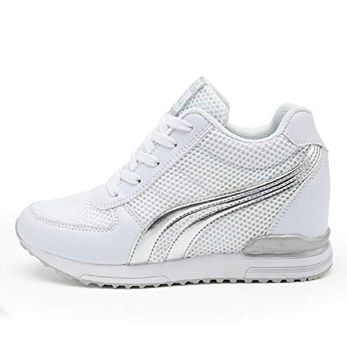 AONEGOLD Damen Sneakers Wedges Keilabsatz 7cm Sportschuhe Atmungsaktive Mesh Laufschuhe Outdoor Freizeitschuhe...