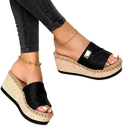 Minetom Damen Sandalen Casual Damen Sommer Wedge Peep Toe High Heel Plattform Pantoletten Sandalen Flache Schuhe...