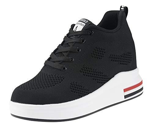 AONEGOLD Damen Sneaker Wedges mit Keilabsatz 8cm Turnschuhe Atmungsaktive Freizeitschuhe Sportschuhe Schwarz Weiß Rosa...