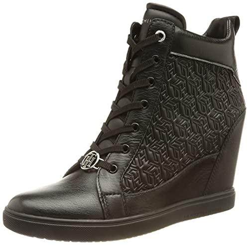 Tommy Hilfiger Damen ABO Metallic Pop Wedge Sneaker, Schwarz, 36 EU