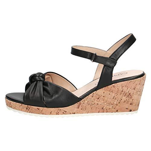 CAPRICE Damen Sandalen, Frauen Keilsandalen,Weite: G (Normal),Keilsandaletten,Keilabsatz,Wedge-Heel,weiblich,Lady,Black...