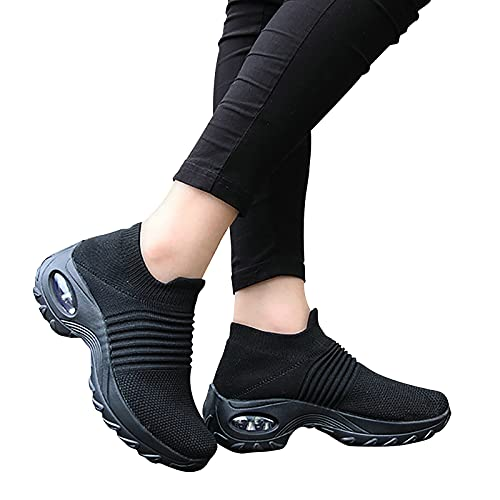 ZahuihuiM Damen Mesh Sneaker Slip On Atmungsaktive Sportschuhe Mädchen Socken Plattform Walkingschuhe Casual Plateau...