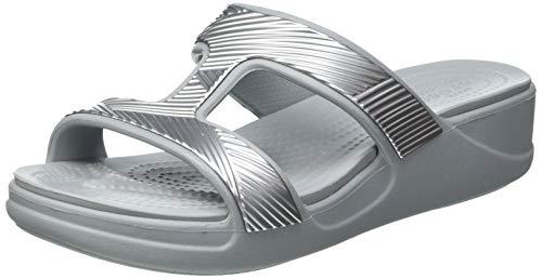 Crocs Monterey Metallic Slip-On Wedge,Light Grey, 34/35 EU