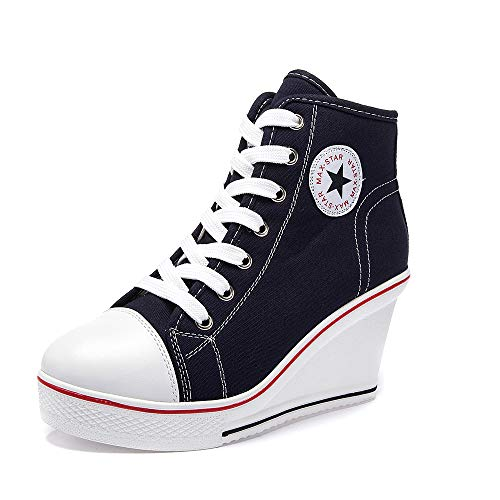 siphly Damen Keilabsatz Schuhe 35-43 EU Canvas Sneaker Schuhe für Sport Freizeit Damen Sneaker Wedges mit Keilabsatz...