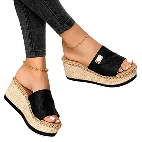 Damen Sandalen, Casual Damen Sommer Wedge Peep Toe High Heel Plattform Pantoletten Anti-Rutsch-Sandalen Schwarz 38
