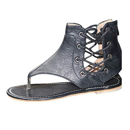 Patifia Sandalen Damen Sommer, EIN-Wort Mode Strasssteine vielseitig mit Damen Hausschuhe Frauen Wedges Schuhe Mode Flip...