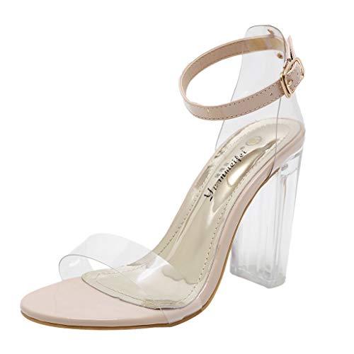 PPangUDing Sandalen Damen Sommer Mode Peep Toe Durchsichtige Outdoor Sandaletten Strandschuhe Gummi-Sandalen Keilabsatz...