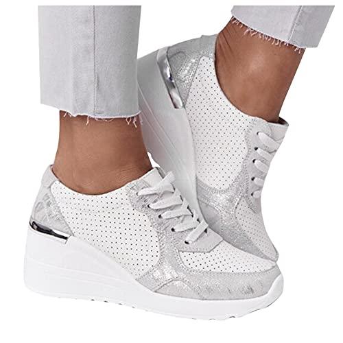 Briskorry Damen Keilabsatz Sandalen Sommer Vintage Schuhe Plattform Freizeit Sommerschuhe Strandsandalen Slippers...