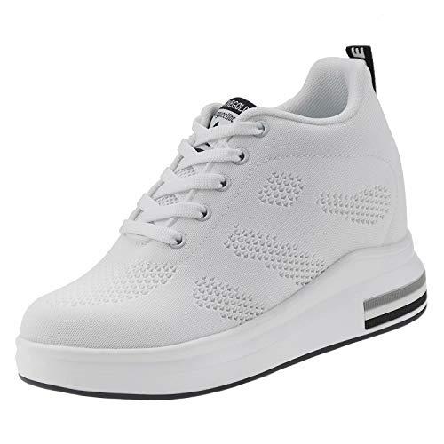 tqgold Wedges Sneaker Damen mit Keilabsatz 8cm Sportschuhe Turnschuhe Plateau Schuhe Weiß Größe 38