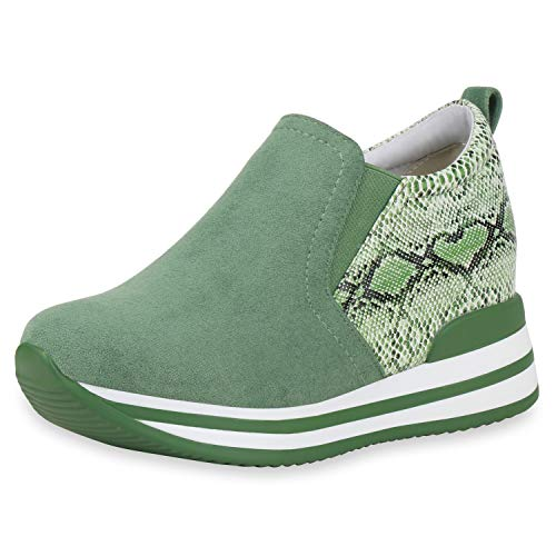 SCARPE VITA Damen Sneaker Wedges Keilabsatz Schuhe Slip On Turnschuhe Keilsneaker Snake Print Freizeitschuhe 193462...