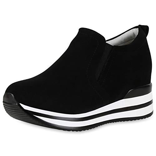 SCARPE VITA Damen Sneaker Wedges Plateau Turnschuhe Keilabsatz Freizeit Schuhe 174023 Schwarz Weiss 39