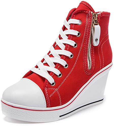 Solshine Damen Canvas Sneaker Wedge Turnschuhe mit 8cm Keilabsatz 689 Rot 41EU