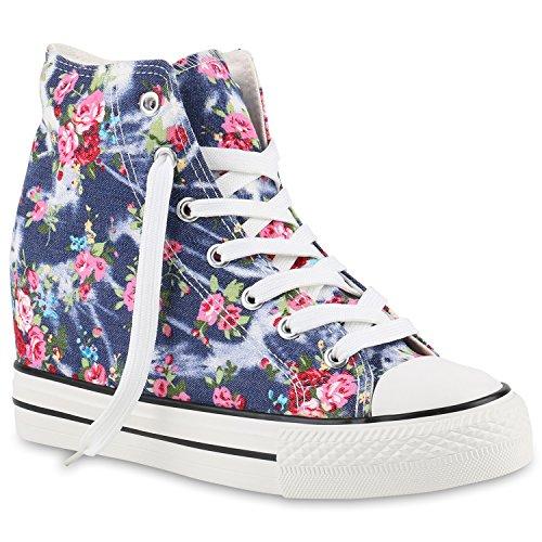 stiefelparadies Damen Sneakers High Top Keilabsatz Blumen Sneaker-Wedges Schuhe 139850 Dunkelblau Blumen 40 Flandell