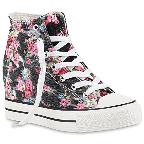 stiefelparadies Damen Sneakers High Top Keilabsatz Blumen Sneaker-Wedges Schuhe 139848 Schwarz Blumen 38 Flandell