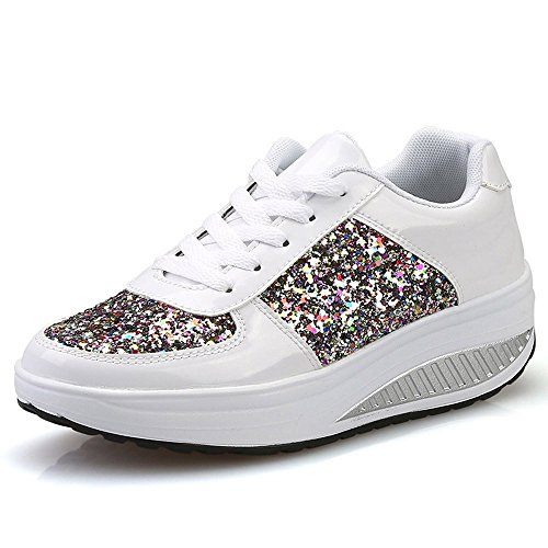 Patifia Sportschuhe Damen, Damen Damen Wedges Sneakers Pailletten Shake Schuhe Mode Mädchen Slip On Laufschuhe...