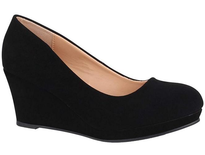 Wedge Schuhe mit Keilabsatz Pumps Keilabsatzschuhe schwarz Damen