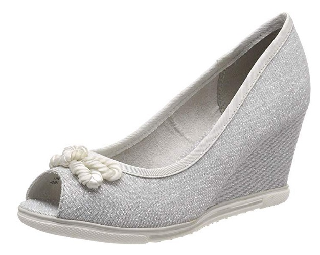 Wedges Schuhe mit Keilabsatz Peeptoes Pumps silber Marco Tozzi
